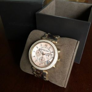 Michael Kors Tortoise & Rose Gold Watch